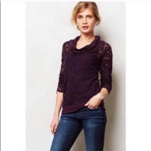 Anthropologie lilka lace maroon shirt - small